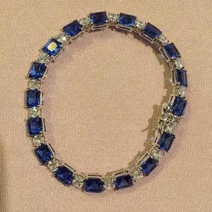 Jewelry - Sterling Silver blue and clear rhinestones